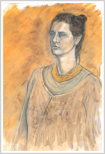 Woman with gold necklace by artist Richard Tomlin